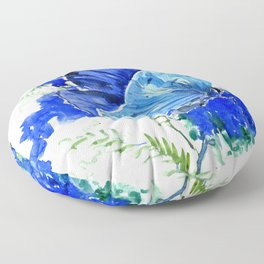 Blue Butterfly, blue butterfly lover blue room design floral nature Floor Pillow