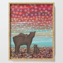 brown bears and stars Serving Tray