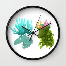 Coral deer -  Blue and kelp Wall Clock