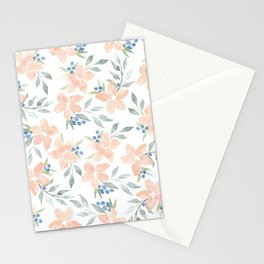 Peach Watercolor Flowers Stationery Cards