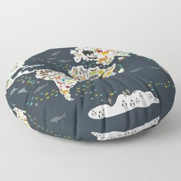 Cartoon animal world map for children, kids, Animals from all over the world, back to school, gray Floor Pillow