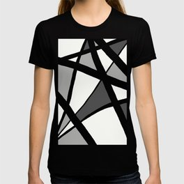Geometric Line Abstract - Black Gray White T-Shirt