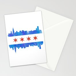 Chicago Flag Skyline Watercolor Stationery Cards