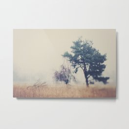 the story ... a tree & a field clouded in morning fog Metal Print