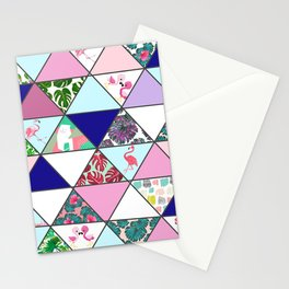 Geometrical Abstract Pink Teal Tropical Flamingo Floral Stationery Cards
