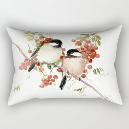 Chickadee Bird Vintage Bird Artwork, two birds, chickadees woodland design Rectangular Pillow