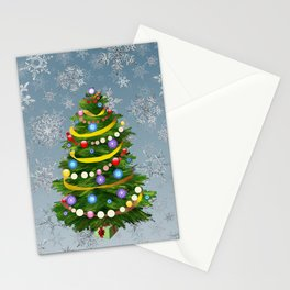 Christmas tree & snow Stationery Cards