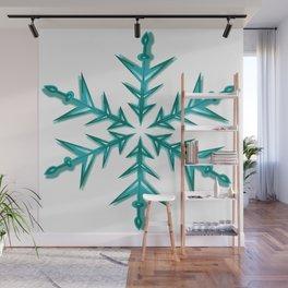 Minimalistic Aquamarine Snowflake Wall Mural