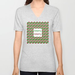 Merry Merry with Red and Green Dots Unisex V-Neck