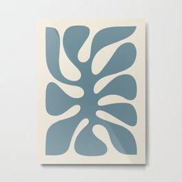 Abstract Monstera Leaf 10. Teal Metal Print