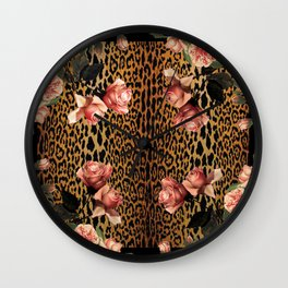 Leopard and Roses Wall Clock