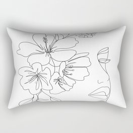 Minimal Line Art Woman Face II Rectangular Pillow