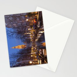 Church and a canal in Amsterdam at night Stationery Cards