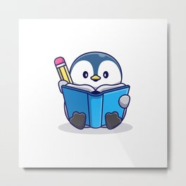 Cute Penguin Writing Book Icon Illustration Animal Icon Concept Isolated Flat Cartoon Style Metal Print