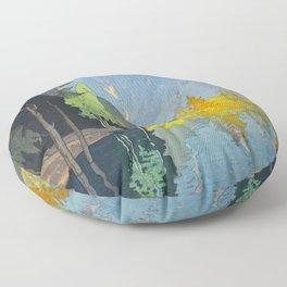 Hodaka Mountain Hiroshi Yoshida Vintage Japanese Woodblock Print Floor Pillow