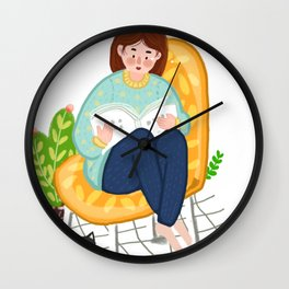 Reading Girl And Cat Wall Clock