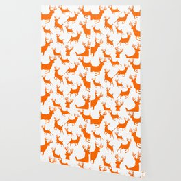 Deer Silhouette Pattern Hunt Blaze Orange Outdoors Rustic Country Wallpaper