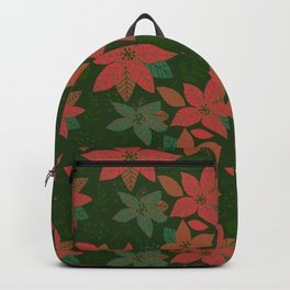 Serene Poinsettia Vintage Red On Green  Backpack