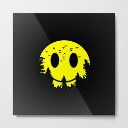Smiley Moon Metal Print
