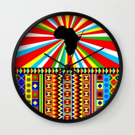 Kente Cloth Pattern with Africa Continent Sun Wall Clock