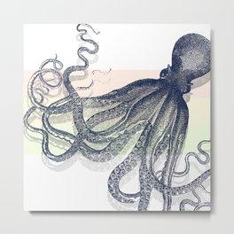Blue Octopus on Pastel Metal Print