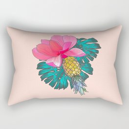 Tropical Summer Watercolor Pink Green Yellow Floral Rectangular Pillow