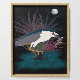 Black Crowned Night Heron Serving Tray