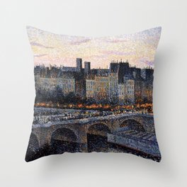 Paris City Lights & Twilight Skyline along the River Seine landscape painting by Maximilien Luce Throw Pillow