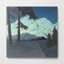 Winter Cabin in the Mountains landscape painting by Ivan Fedorovich Choultsé Metal Print