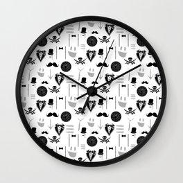 Black-white funny men's retro vector seamless set Wall Clock