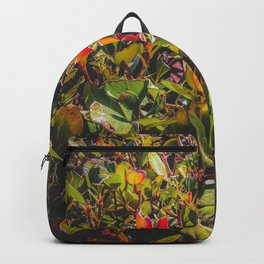 green leaves and orange leaves texture background Backpack