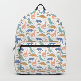 Dinosaurs + Rainbows in Blush Pink + Gold + Blue Backpack