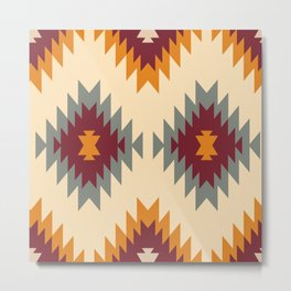 Aztec Southwestern pattern Navajo ornament Tribal Native American print Metal Print