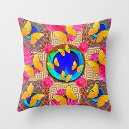 Fuchsia  Pink Yellow Butterflies Blue Patterns Throw Pillow