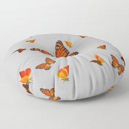 FLOCK OF ORANGE MONARCH BUTTERFLIES ART Floor Pillow