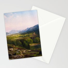 Shepherdess Watching Her Flock 1867 By Thomas Moran | Earthy Natural Scenic View Reproduction Stationery Cards
