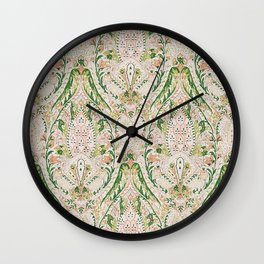 Green Pink Leaf Flower Paisley Wall Clock