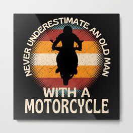 Old Man With A Motorcycle Metal Print