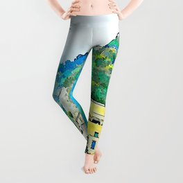 View of the village perched of Amalfi Leggings