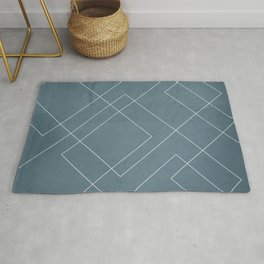 Overlapping Diamond Lines on Teal Rug