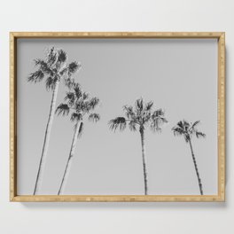 Black Palms // Monotone Gray Beach Photography Vintage Palm Tree Surfer Vibes Home Decor Serving Tray