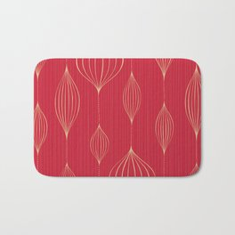 Abstract Red Gold Geometric Striped Pattern Bath Mat