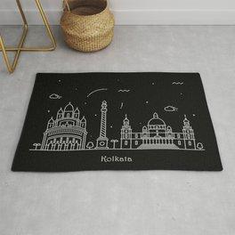 Kolkata Minimal Nightscape / Skyline Drawing Rug