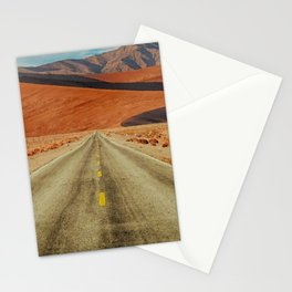 'Lonely Desert Road A Thousand Miles From Nowhere' landscape painting Stationery Cards