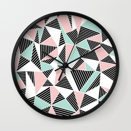 AbLines with Blush Mint Blocks Wall Clock