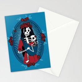 Skeleton Mother & Child - Dia de los Muertos - Blue Stationery Cards