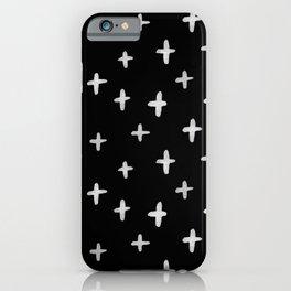 Watercolour Cross Pattern | White on Black iPhone Case