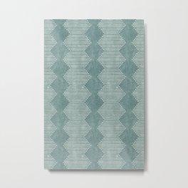 mudcloth diamonds - dusty blue Metal Print