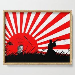 Samurai Sword Fight Victory Serving Tray