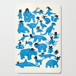 Blue Animals Black Hats Cutting Board